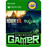 Resident Evil 7 + Outlast 2 Xbox One - N0 Codigo - Offline