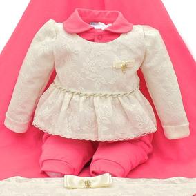 Saida Maternidade Luxo Paraiso Macacao Bebê Menina Ref 8336