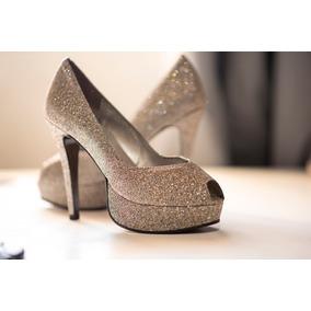 Sapato Com Glitter 34 + Bolsa De Festa