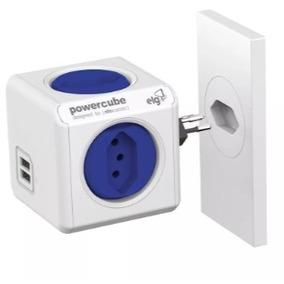 Power Cube Adaptador 4 Tomadas Com 2 Usbs Disjuntor 10a