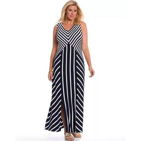 bc7fc89d89e79 Vestido Dama Extra 3x 22 24 Maxi Dress Rayas Azul M blanco