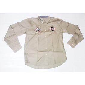 Camisa Masculina Rodeio Ml Pbr Country Bordada Caqui Festa