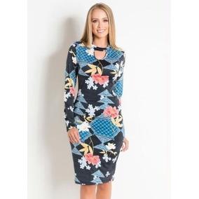 Vestido Floral Com Gola Choker Moda Evangélica