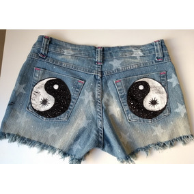 Short Jeans Feminino Customizado Pintado Yin-yang Roupa