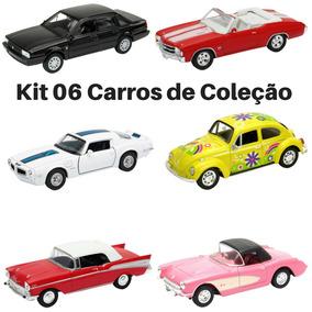 Kit Com 6 Miniatura Carro De Coleção Antigo 1/32 Clássico