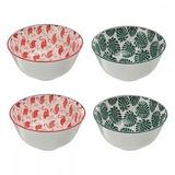 Conjunto De Bowls Pequenos - Flamingo E Folhagem