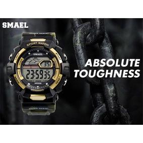 Relógio Smael Camuflado Militar Na Lata