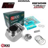Kit Cilindro Pistão Aneis Motor Honda Bros150 Titan150 Nikki