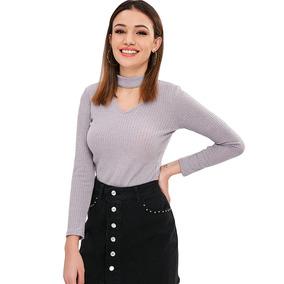 Suéter Tejido Y Calado Con Gargantilla