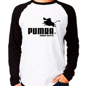 Manga Longa Pumba Rei Leão Puma Hakuna Matata Blusa Camisa 72aa29062cbf0