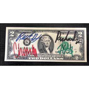 Cédula De 2 Dólares Autografada Pelo Elenco Do Trato Feito