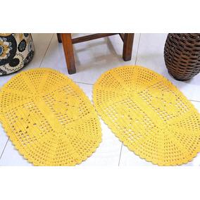 Par De Tapetes Em Crochê Oval Liso - Amarelo