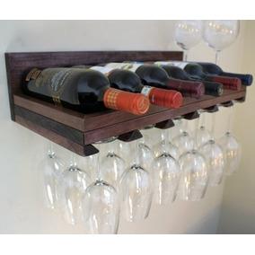 Adega Em Madeira Prateleira Porta Taças Para Vinho Bar