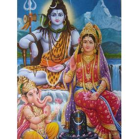 Pôster Gravura Imagem Divindade Hindu Shiva Parvati Ganesh 2