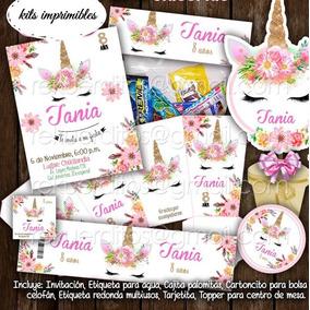 Kit Imprimible Unicornio Etiquetas Fiesta Bolo Piñata Dulces
