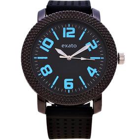 d09c7a4760c Relogio Exato Feminino Borracha Preto - Relógios De Pulso no Mercado ...