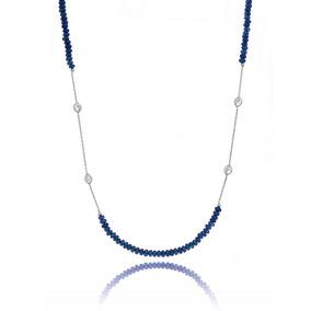 Colar Vivid Agatha Azul Tingida Artesanal E Cristais Prata 04cf6078fb8