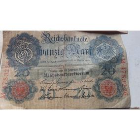 Nota Bancaria 20 Mark Alemã 1914 Império Alemão Cedula Rara