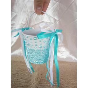 Porta Alianças Cestinha De Pérolas Azul Tiffany Almofadinha