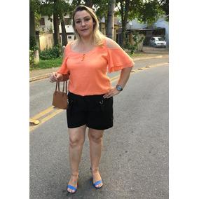 Shorts Feminino Cintura Alta Plus Size Em Linho Ref. 15393
