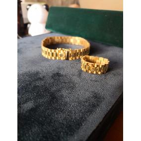 Pulsera Rolex En Oro De 18k Con Anillo
