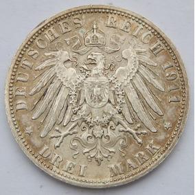 Moeda Império Alemão - Bavaria - 3 Mark 1911