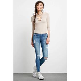 Jeans Pantalon Rasgado Color Medio Denim Forever 21 Original