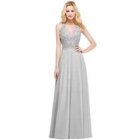 Vestido Noche Largo Corte A Apliques Encaje Bordado Y Perlas