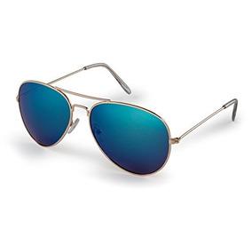 8131f2b899 Gafas De Sol Estilo Aviador, Montura Dorada Con Lentes Azule