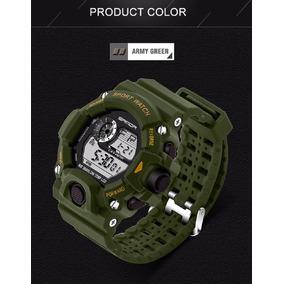 Relógio Digital Masculino Sanda Shock Verde Militar Barato