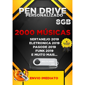 Pen Drive Gravado 8gb + 2000 Musicas Spotify 2019