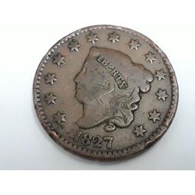 Moeda One Cent Coronet Head Large 1827, 28 Mm, Rara.