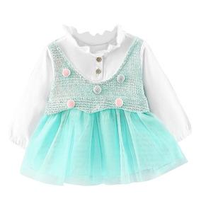 Vestido Para Niña Con Chaleco Incluido Pompones Bebé Niñas