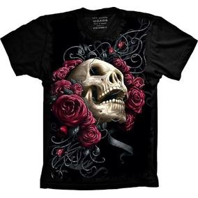 bc5c4842e Camiseta Feminina Caveira Flores Rasgos por Khelf · Camiseta Caveira Com  Flores Roxas