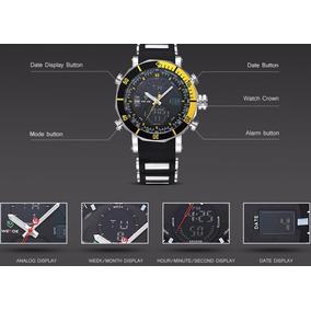 Relógio Esporte De Quartzo Da Marca Weide Amarelo Importado.