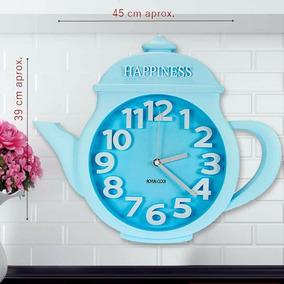 Reloj De Pared Tetera Color Azul