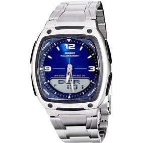 Reloj Casio Aw-81d Metalico Led Analogo Digital - Original