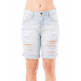 Bermuda Jeans Feminina Mid Drop Eventual Rasgada Clara