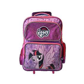 Mochila Escolar Con Ruedas My Little Pony Original Morada