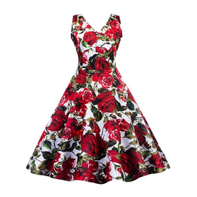 Tsuki Moda Asiatica: Vestido Vintage Retro Pin Up Flores
