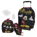 Mochila Escolar Infantil Mickey Mouse Com Rodinhas Tam G
