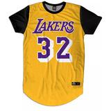 Camisa Camiseta Full 3d Longline Lakers 32 Basquete Magic f0e2dfa23cdb6