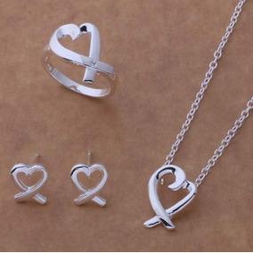 Collar Aretes Anillo Mujer Joyería Fina Corazón Entrelazado