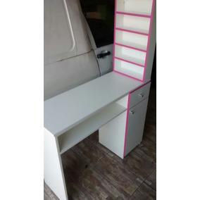 Mesa Manicure 1 Gaveta E 1 Porta C/expositor Detalhe Pink
