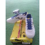 Zapato De Futbol Taco Joma Blanco Azul Dorado