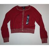 Nuevo Gap Kids Rojo Brillo Oro Corte Cardigan Suéter Tamaño 9af7028b679e