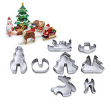 8 Peça Definir 3d Natal Estéreo Biscoito Impressão Cozinha F