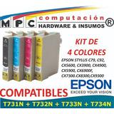 Kit 4 Cartuchos Comp. Epson T731n 4 Col C92/cx5600/cx3900/