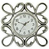 6509f9447d Relógio De Parede 25 Cm Prata Modelo Antigo Retrô Sala