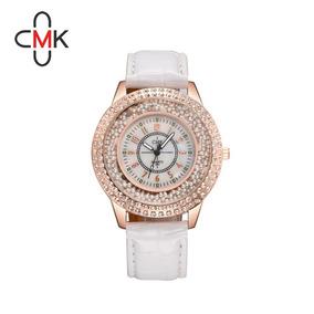 Relógio Feminino Em Couro Com Pedras Luxo Lançamento Ofreta